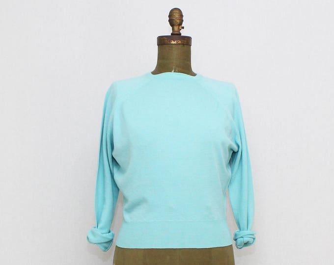 Vintage 1960s Bombshell Baby Blue Wool Pullover - Size Small Deadstock