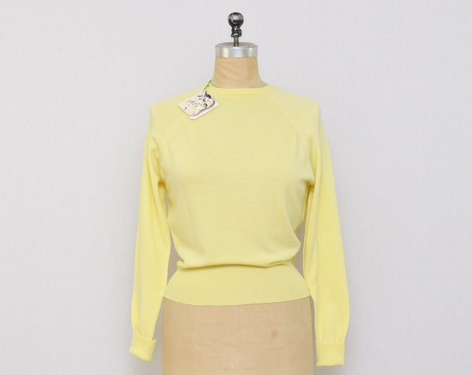 Vintage 1960s Butter Yellow Wool Pullover with Original Tags