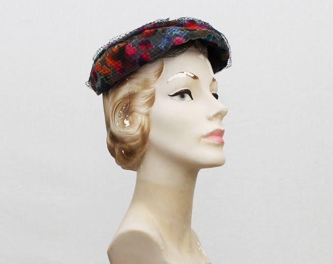 40s Floral Burn Out Velvet Hat - Vintage 1940s Multi Color Women's Hat
