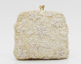 fb539de04d5 Ivory Floral Beaded Handbag - Vintage 1960s Beaded Wedding Purse