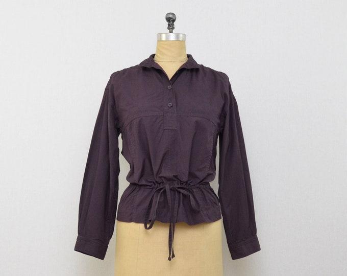 YSL Plum Casual Blouse - Vintage 1970s Yves Saint Laurent Rive Gauche Drawstring Top