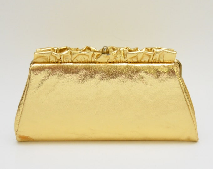 Vintage 1960s Metallic Gold Ruffle Clutch