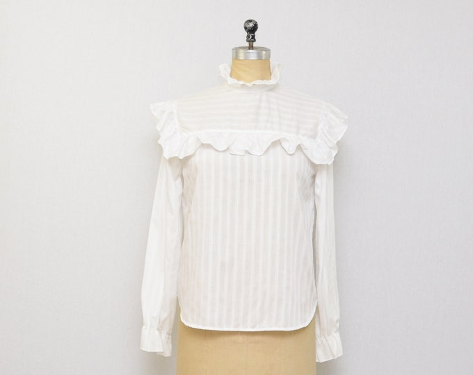Vintage 1970s White Pullover Ruffle Blouse - Size Medium