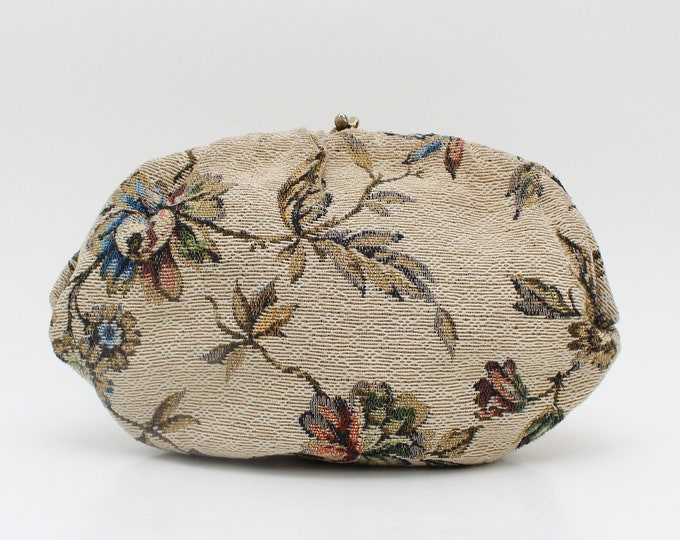 Vintage 1960s Chintz Floral Tapestry Purse