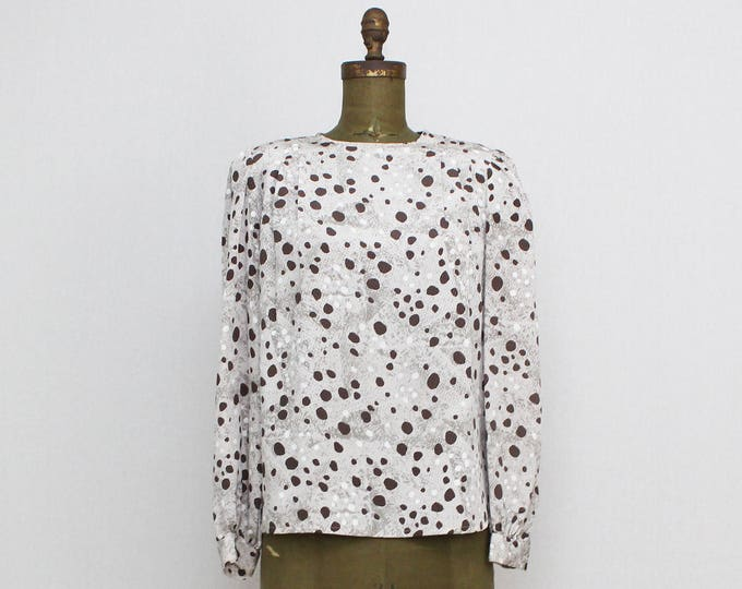 80s Abstract Dot Print Blouse - Vintage 1980s Neutral Tone Pull Over Top by Nicola