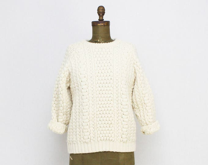 Vintage 1970s Chunky Knit Pullover Sweater - Size Small