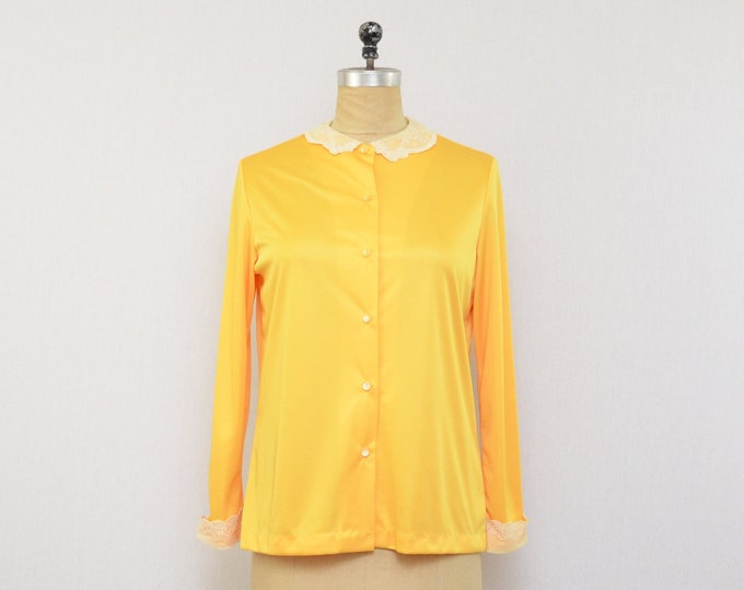 Vintage 1970s Yellow Button Down Blouse - Size Large
