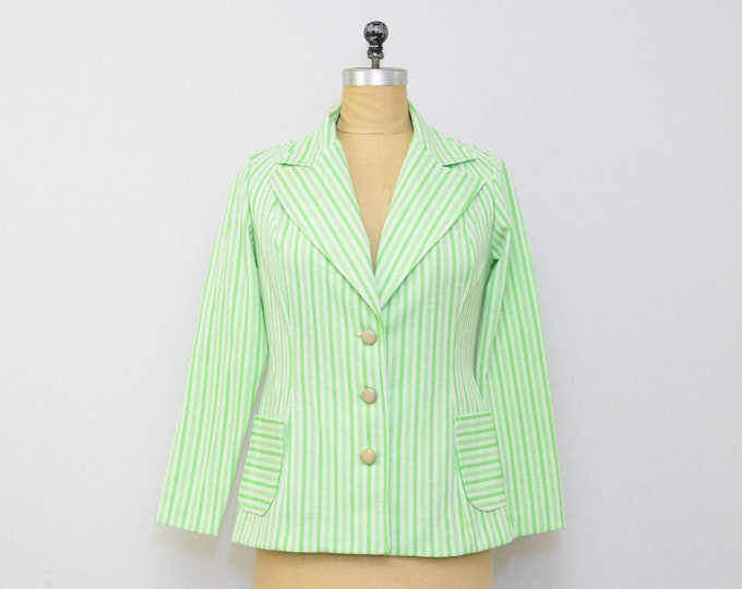 Vintage Green Striped Blazer - 1960s - Size Small