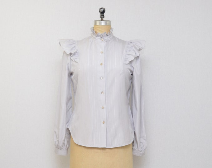 Vintage 1970s Grey Pin Stripe Blouse - Size Medium