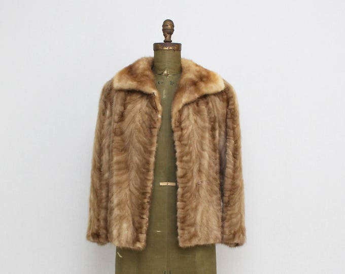 Vintage 1960s Blonde Mink Short Coat - Size Small