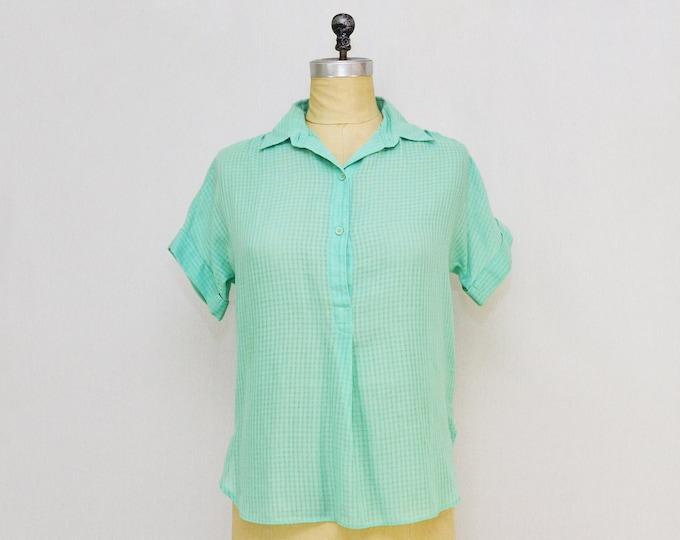 Vintage 1970s Levi's Turquoise Women's Blouse - Size Medium