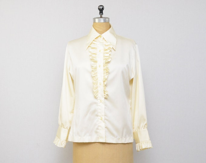 Vintage Cream Ruffle Blouse - Size Medium