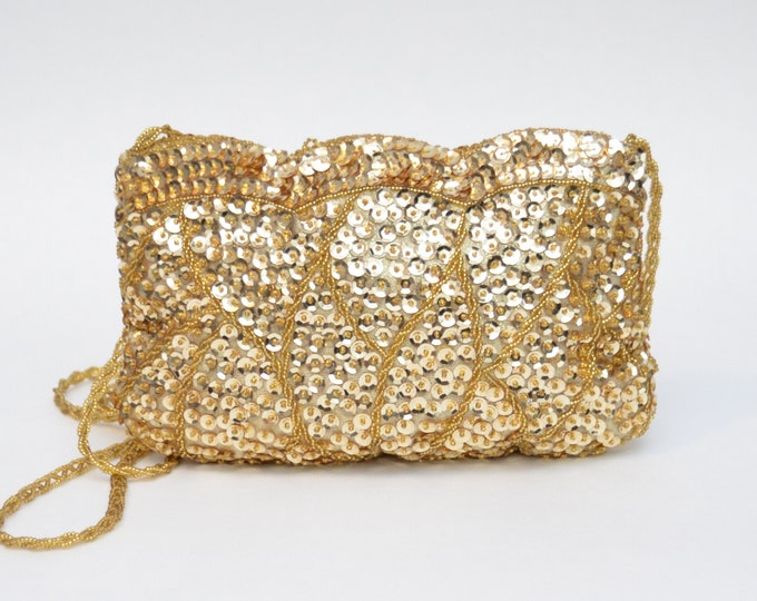 Vintage Gold Sequin Handbag by LaRegale - 1980s