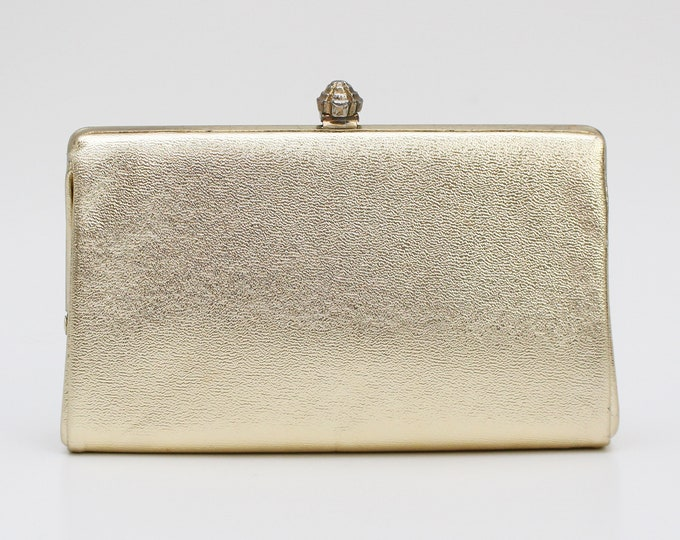 Vintage 1970s Metallic Gold Bridal Clutch