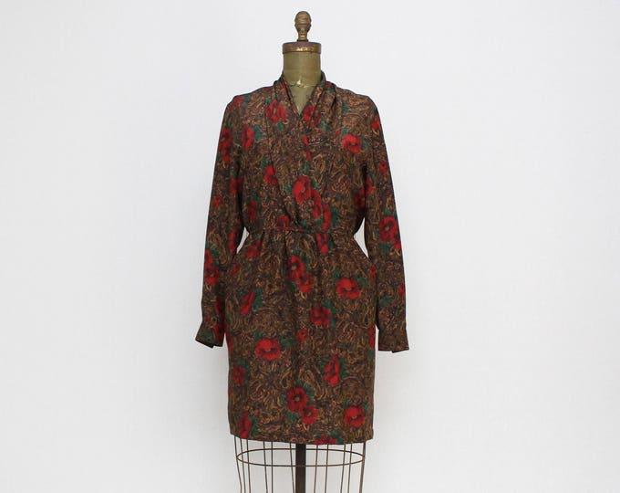 Vintage 1970s Poppy Print Wrap Dress - Size Small