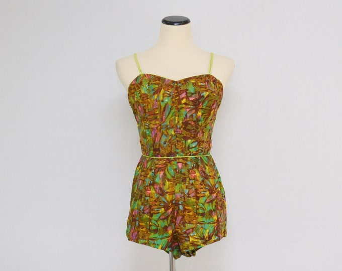 Vintage 1960s Tropical Print Bathing Suit - Size Extra