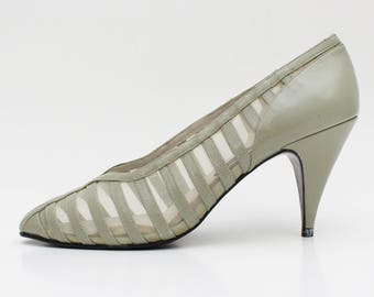 eaca09960a Taupe Grey Striped Pumps - Size 7 B 80s High Heel Shoes - Vintage 1980s  High Heel Pumps by Arpiedi