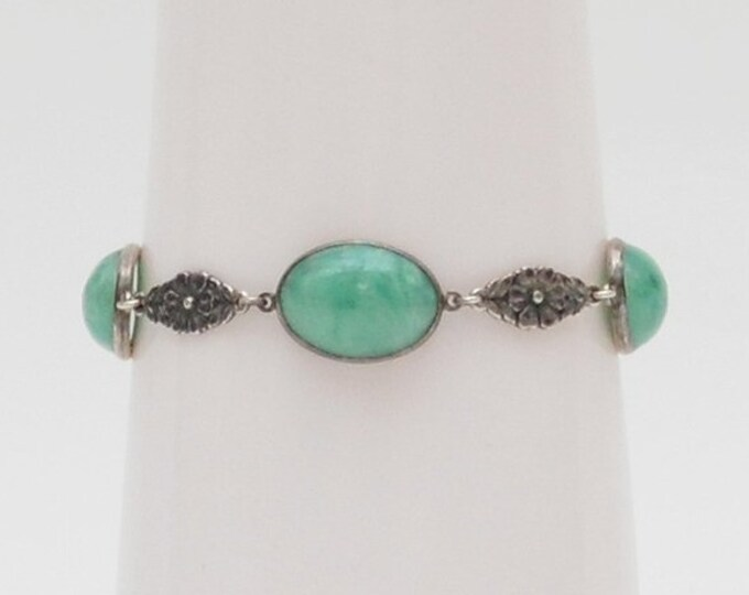 Antique Sterling Silver Jadeite Bracelet