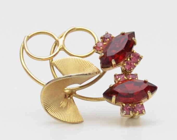 Vintage 1950s Gold Modernist Floral Brooch