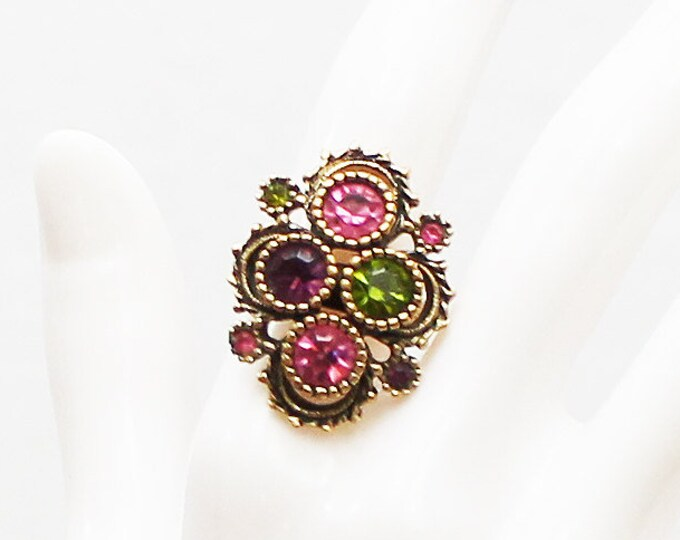 Sarah Coventry Gem Tone Cocktail Ring - Vintage 1970s Adjustable Rhinestone Dinner Ring