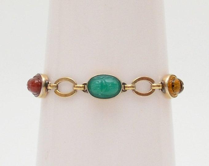 Vintage Gold Scarab Bracelet - 1940s