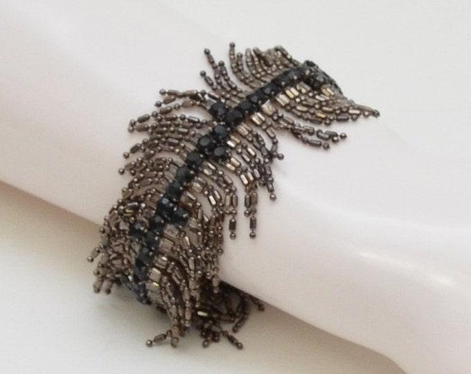 Vintage Rhinestone Fringe Bracelet - 1940s