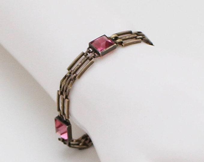 Vintage 1940s Pink Bezel Set Stone Bracelet