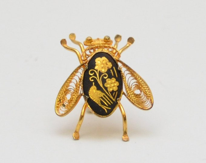Vintage Mid Century Damascene Fly Brooch - 1950s