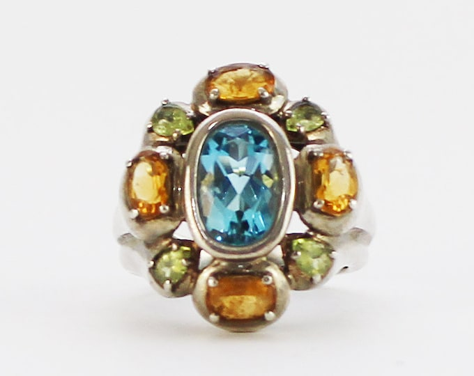 Vintage 1970s Aqua and Citrine Silver Cocktail Ring