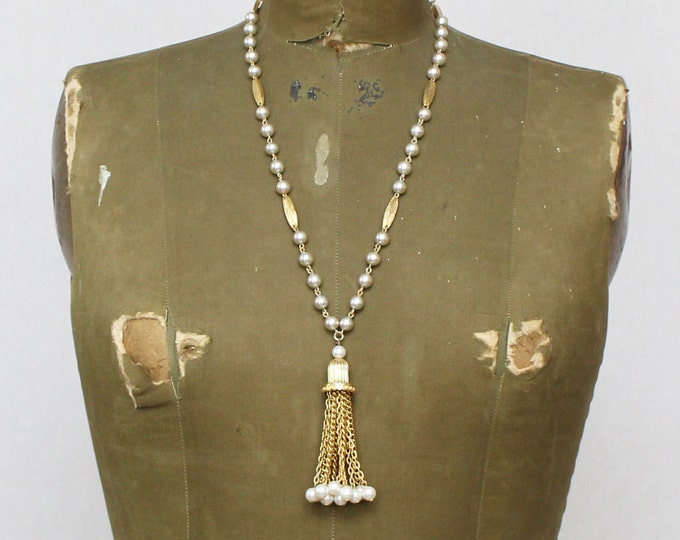 Gold and Pearl Tassel Necklace - Vintage 1970s Statement Necklace - Faux Pearl Long Necklace