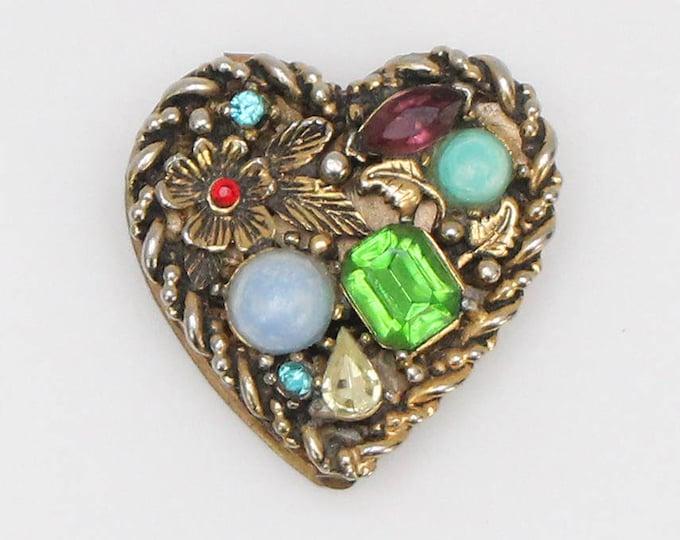 Vintage 1950s Jeweled Heart Shaped Pill Box