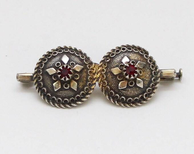 Antique Victorian Silver Garnet Disc Brooch