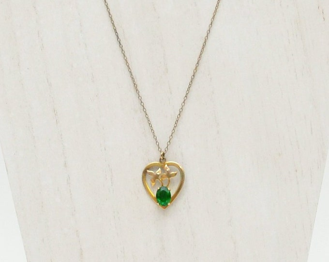 Antique 1920s Gold Heart Necklace