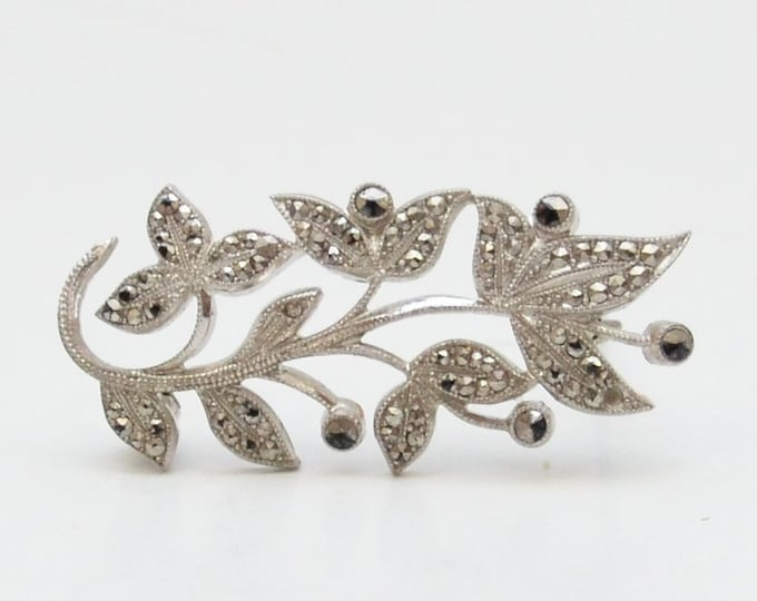 Vintage 1950s Silver Hematite Leaf Brooch