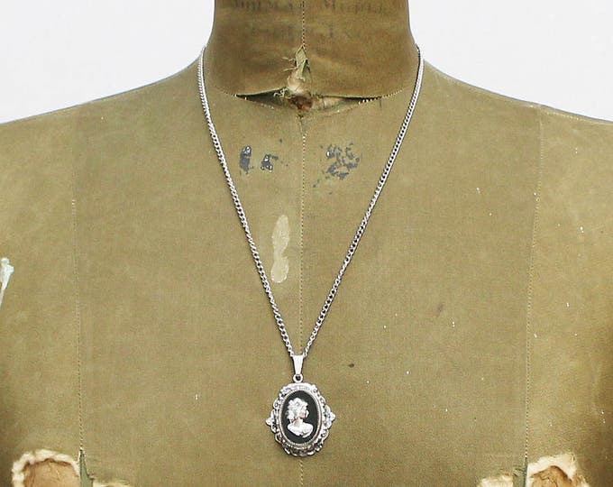 Silver and Black Cameo Necklace - Vintage 1970s Whiting and Davis Cameo Pendant and Chain
