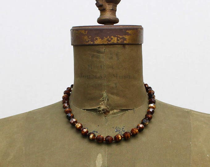 50s Glass Beaded Necklace - Vintage 1950s Western Germany Brown and Black Beads