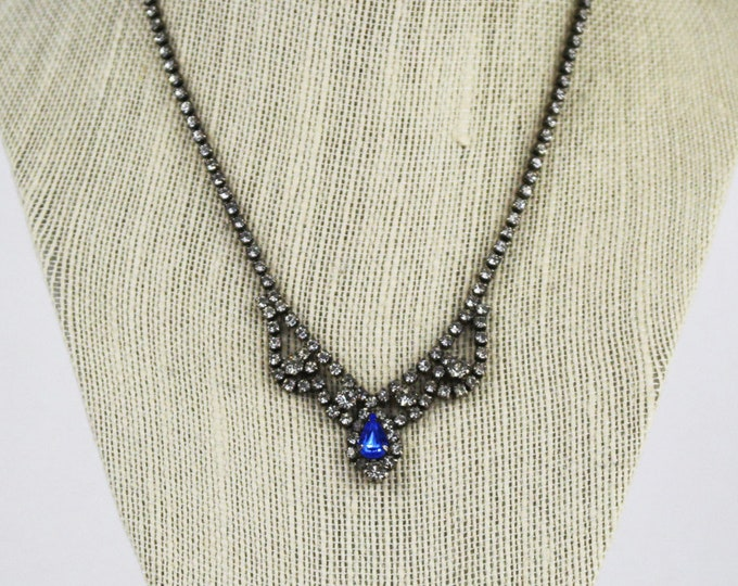 Blue and White Rhinesone Necklace - Something Blue Bridal Necklace - Vintage 1950s Rhinestone Jewelry