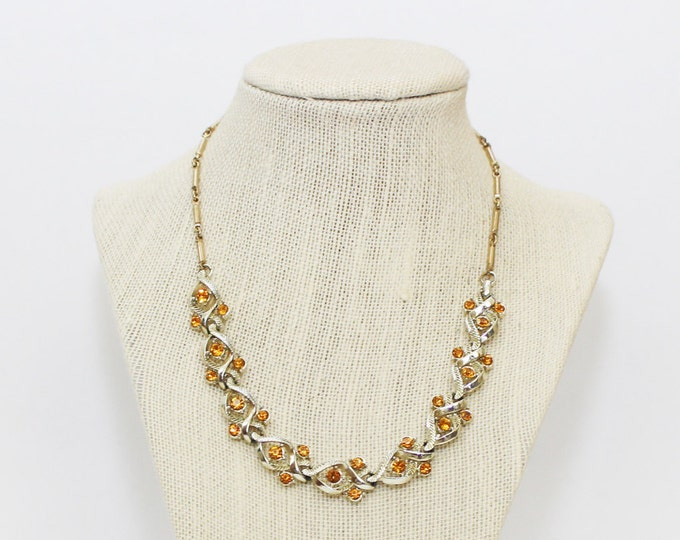 Amber Rhinestone Necklace - Vintage 1950s Cocktail Necklace