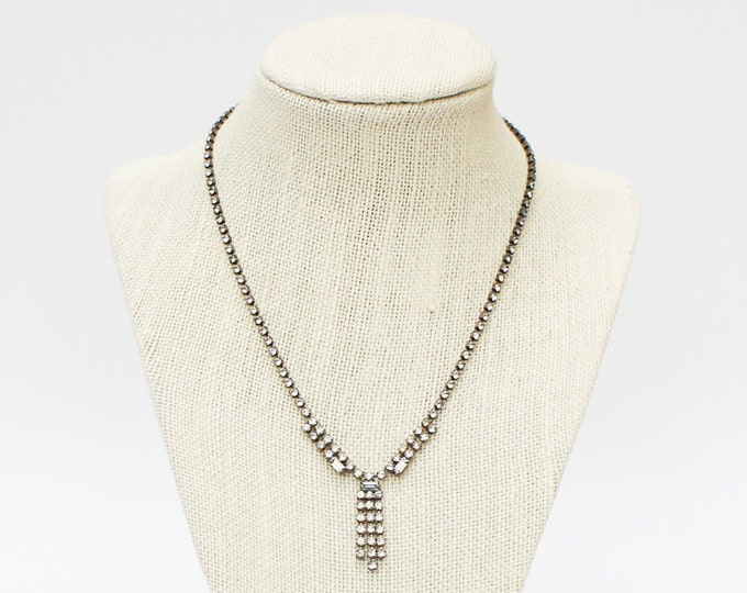 Rhinestone Necklace - Vintage 1970s Pave Rhinestone Necklace
