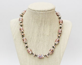 30s Italian Wedding Cake Beads - Vintage 1930s Lampwork Bead Necklace - Beaded Necklace