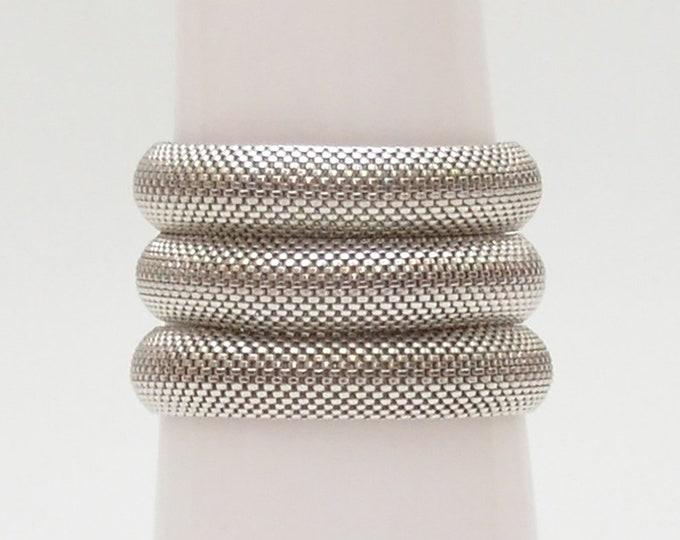 Vintage Silver Mesh Cuff - 1970s