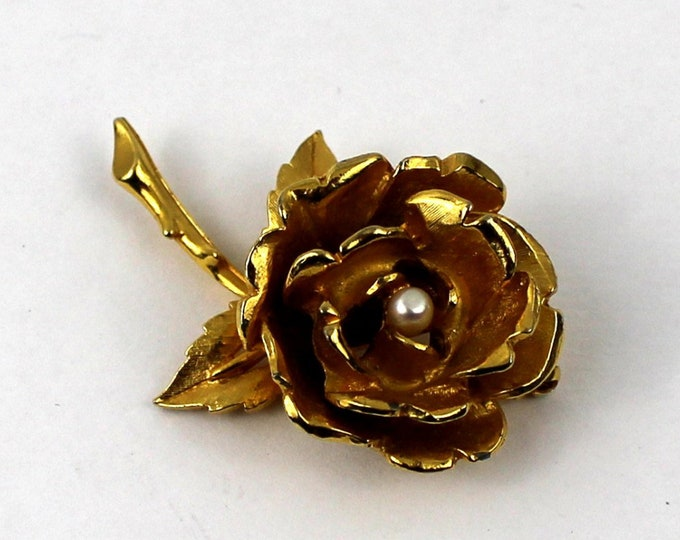 Gold Cabbage Rose Brooch - 80s Articulated Flower Pin - Vintage Gold and Pearl Rose Brooch