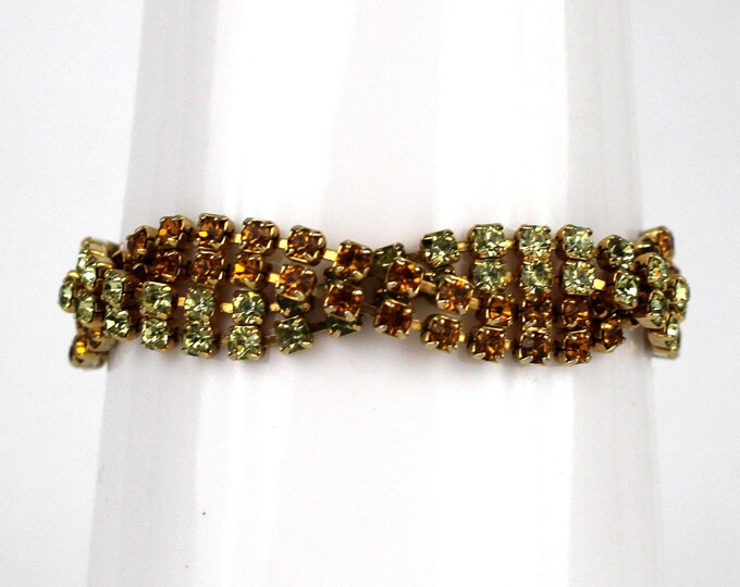 Braided Pavé Rhinestone Bracelet - Orange and Green Rhinestone Bracelet - Vintage 1950s Rhinestone Twist Bracelet