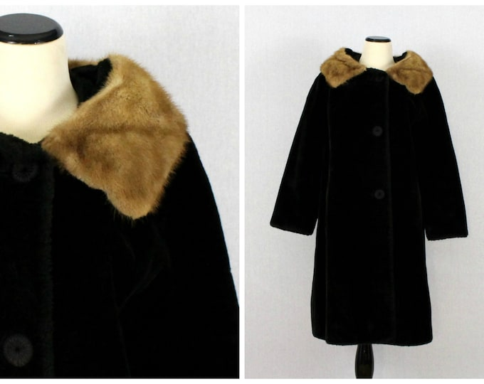 Black and Tan Fur Coat - Women's Deepile Fur Swing Coat - Vintage 1960s Women's Black Winter Jacket