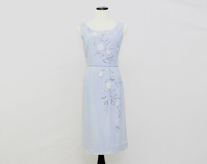 Vintage 1950s Pale Blue Wiggle Dress - Size Small