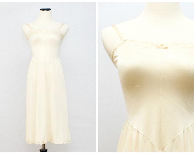 Beige Vanity Fair Slip - Basque Waist Nude Full Slip - Vintage 1960s Undergarment