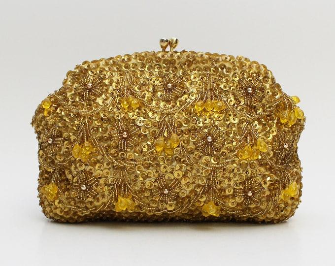 Gold Tassel Beaded Evening Bag - Vintage 1960s Beaded Metallic Clutch