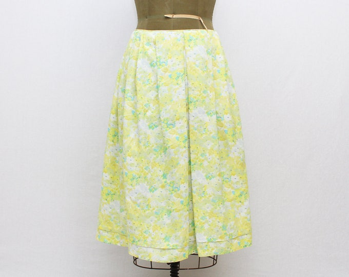 60s Floral Print Pleated Midi Skirt - Vintage 1960s Green and Yellow Watercolor Floral Skirt