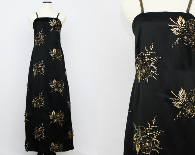 Black Silk Evening Gown - Gold Embroidered and Floral Full Length Dress - Vintage 1960s Long Black Formal Gown