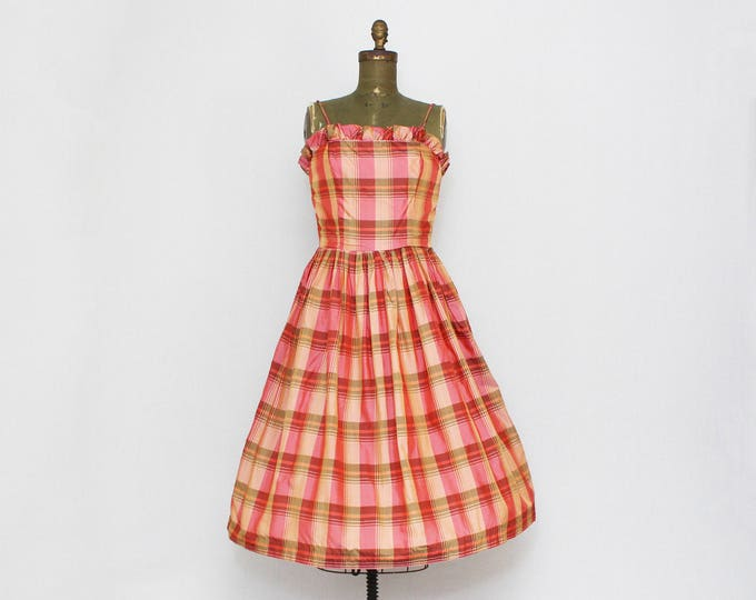 Vintage 1960s Pink Madras Plaid Rockabilly Dress - Size Small
